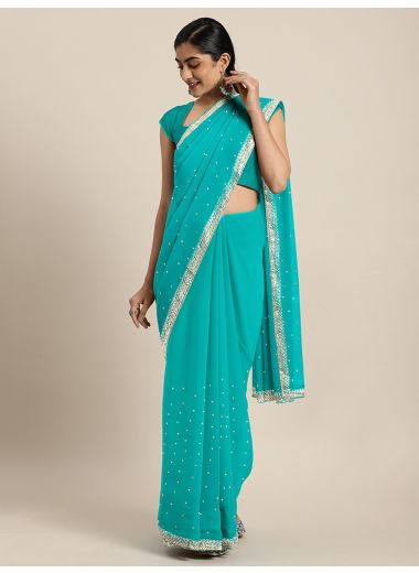 Neerus Sea Green Color Pure Georgette Fabric Drape Saree, With Stitched Blouse