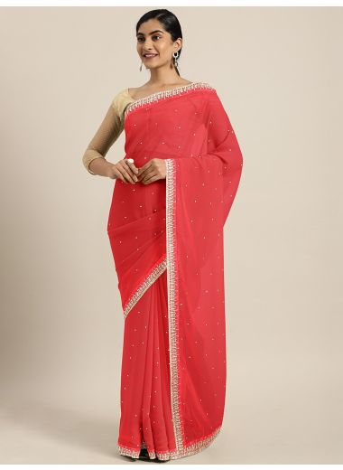 Neerus Coral Embellished Poly Georgette Saree