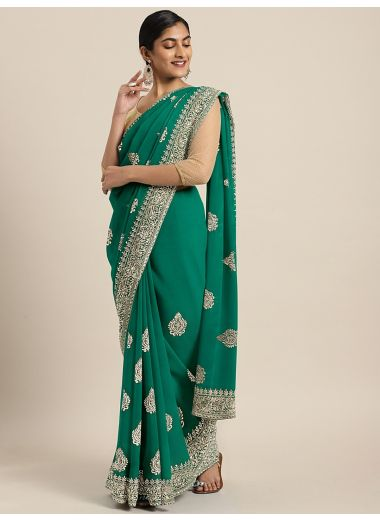 Neerus Green Embroidered Poly Georgette Saree