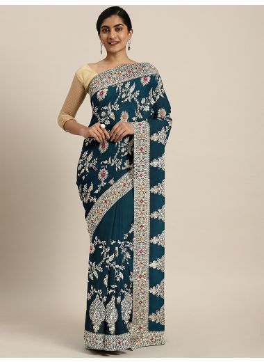 Neerus Blue Printed Poly Georgette Saree