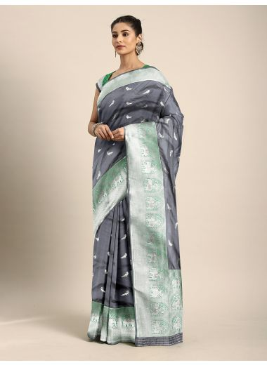 Neerus Charcoal Grey  Silver-Toned Pure Silk Woven Design Saree
