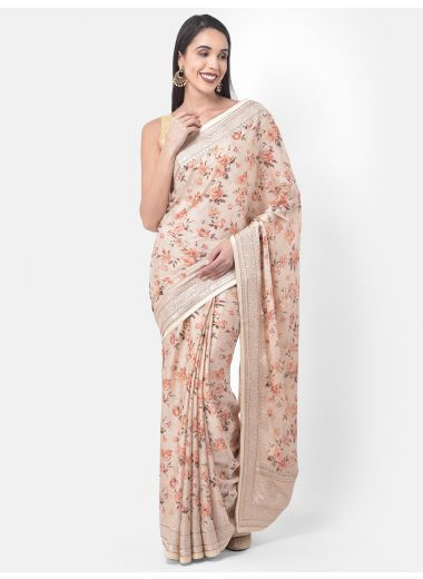Neeru'S Beige Color, Crepe Fabric Saree