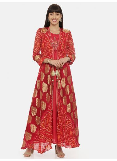 Neeru'S Red Color, Georgette Fabric Gown