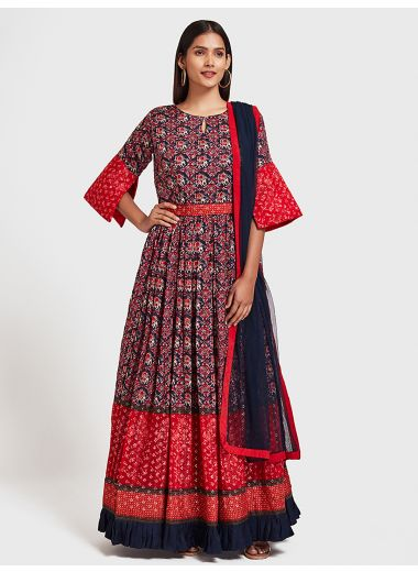 Neeru'S Navy Blue Color, Silk Fabric Suit-Anarkali