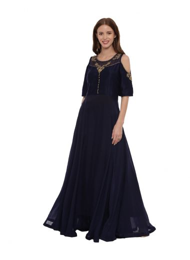 Neeru'S Navy Blue Color,Silk Fabric Gown-Suit