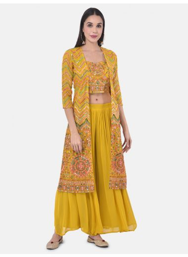 Neeru'S Yellow Colour Georgette Fabric Suit-Fusion