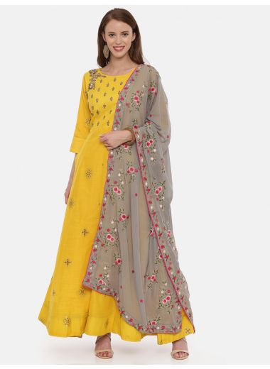 Neeru'S Yellow Color, Banaras Fabric 3/4 Sleeves Suit-Anarkali