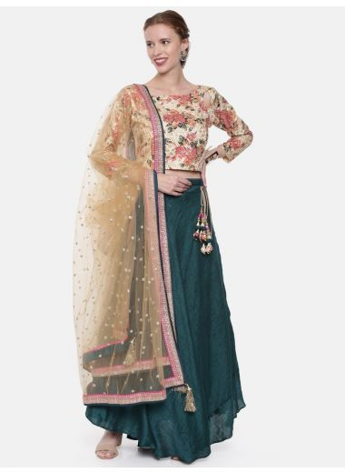 Neeru'S Beige Green Color, Chanderi Fabric Ghagra Set