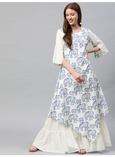 Neerus Women White  Blue Printed Tiered A-Line Layered Kurta