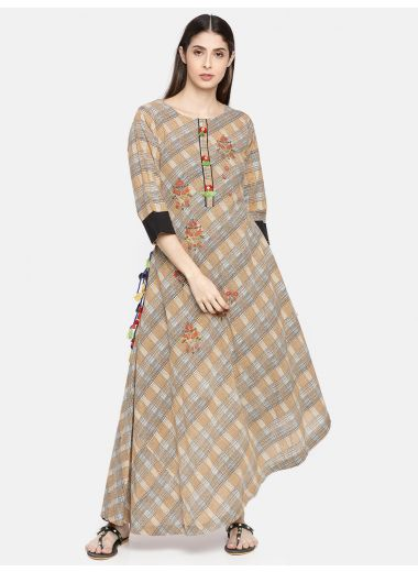 Neerus Women Brown  Yellow Printed A-Line Asymmetric Hem Kurta