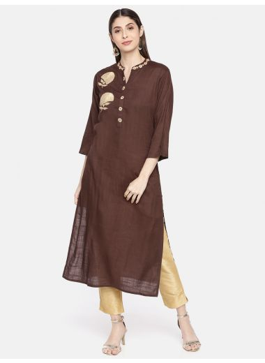 Neerus Women Coffee Brown Solid Straight Kurta With Embroidery Detailing