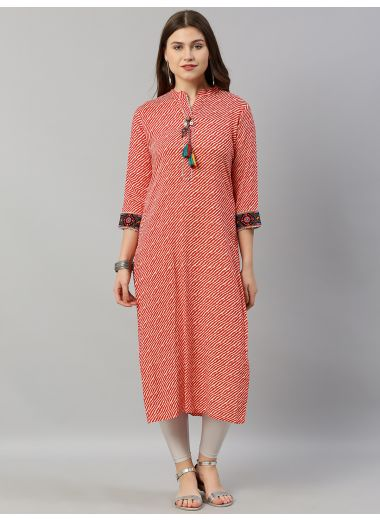 Neerus Women Red  Off-White Leheriya Printed Straight Kurta With Embroidery