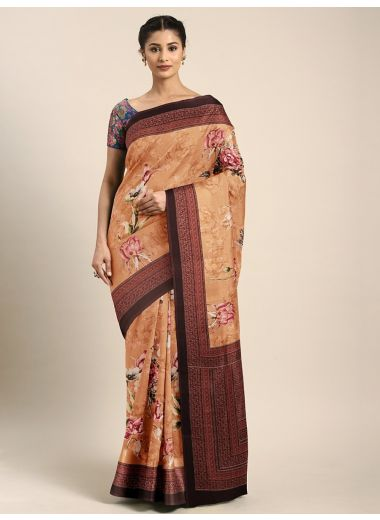 Neerus Cream-Coloured  Pink Poly Crepe Floral Printed Saree