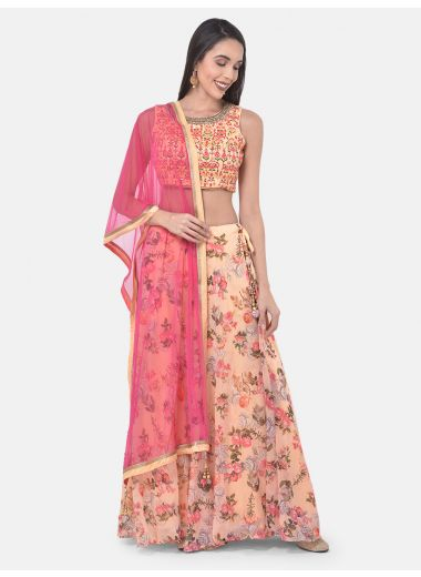 Neeru'S Peach Color Georgette Fabric Ghagra Set
