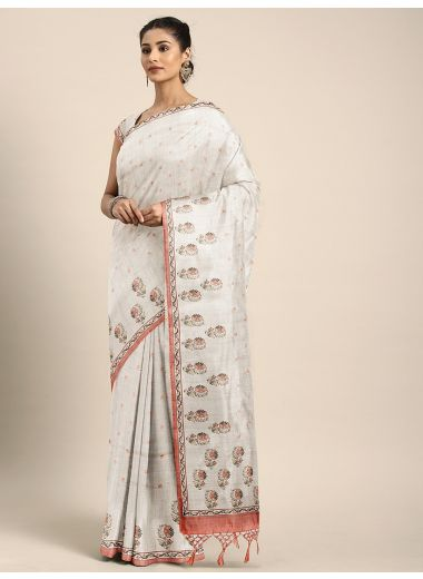 Neeru'S Beige Color, Dupion Fabric Saree