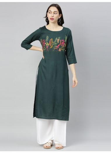 "Neeru'S B Green Colour Slub Riyon Fabric Tunic ""46"""