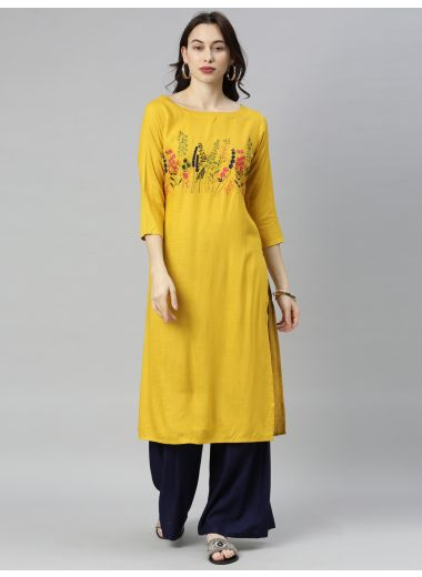 "Neeru'S Mustard Colour Slub Riyon Fabric Tunic ""46"""