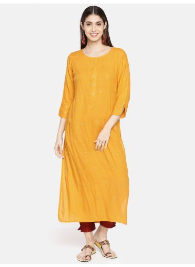 Neerus Women Mustard Yellow Embroidered Straight Kurta