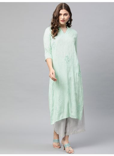 Neerus Women Sea Green Embroidered Straight Kurta