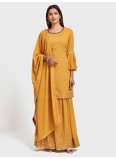 Neerus Mustard Color Georgette Fabric Suit-Gharara