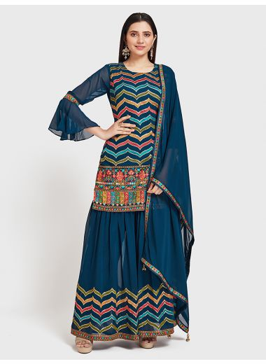 Neerus Peacock Color Georgette Fabric Suit-Gharara