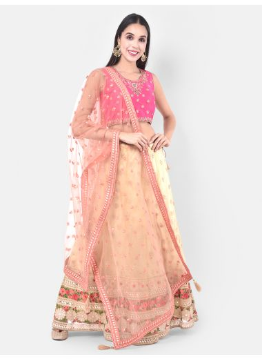 Neeru'S Beige Color Nett Fabric Ghagra Set