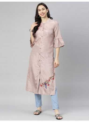 "Neeru'S Onion Colour Silk Fabric Tunic ""46"""
