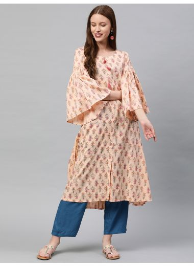 Neerus Women Peach-Coloured  Pink Printed A-Line Linen Kurta With Tussle Detail