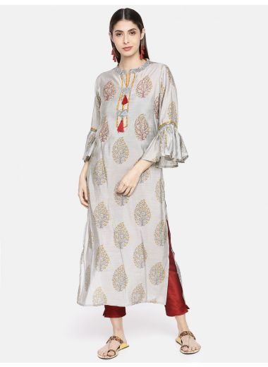 Neerus Women Grey  Red Printed Straight Kurta