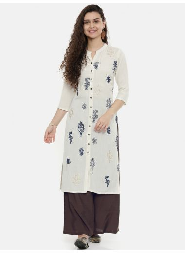 Neerus Women Off-White Embroidered A-Line Kurta