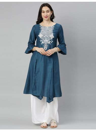 "Neeru'S Blue Colour Muslin Fabric Tunic ""42"""