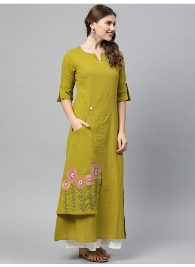 Neerus Women Green Solid A-Line Layered Kurta With Embroidery