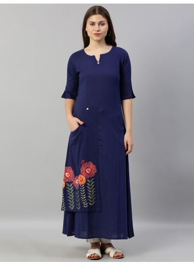 Neerus Women Navy Blue Solid Layered A-Line Kurta With Embroidered Detailing