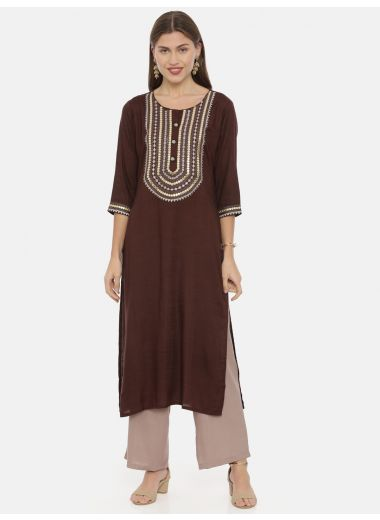 Neeru'S Choco Color, Slub Rayon Fabric Tunic Set