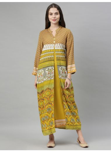 Neeru'S Mustard Color, Cotton Fabric Tunic