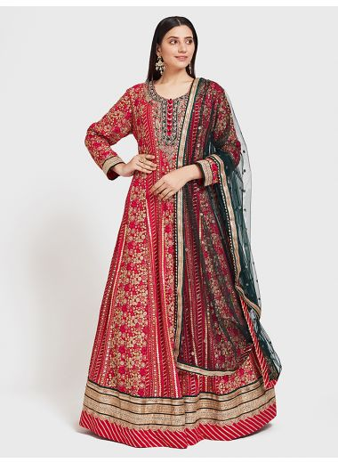 Neerus Rani Color Georgette Fabric Suit-Anarkali