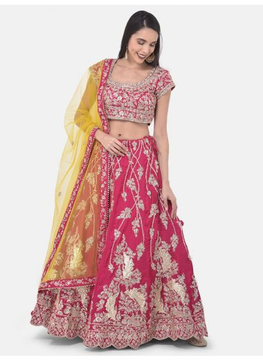Neeru'S Rani Color Silk Fabric Ghagra Set