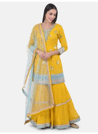 Neeru'S Yellow Colour Georgette Fabric Suit-Gharara