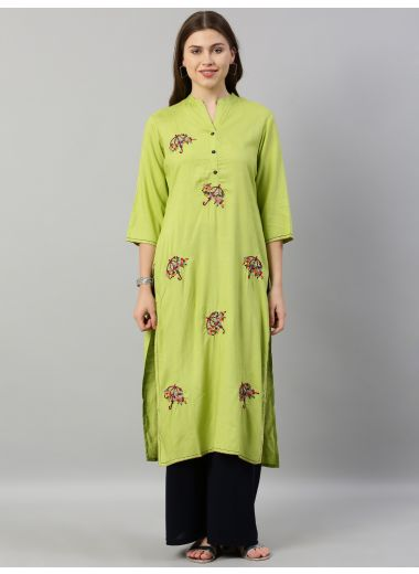 Neerus Women Lime Green Floral Embroidered Straight Kurta