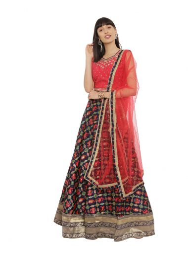 Neeru'S Red Blue Color,Banaras Fabric Ghagra Set