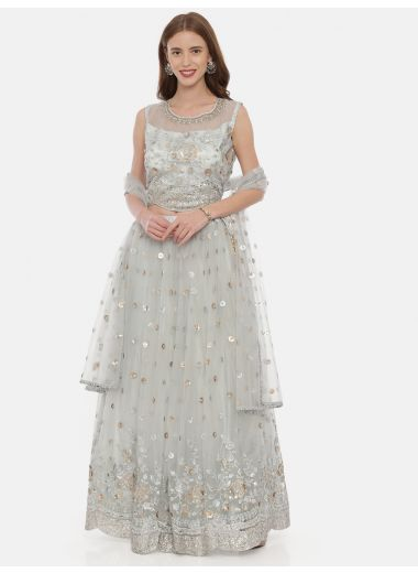 Neeru'S Gray Color,Nett Fabric Ghagra Set