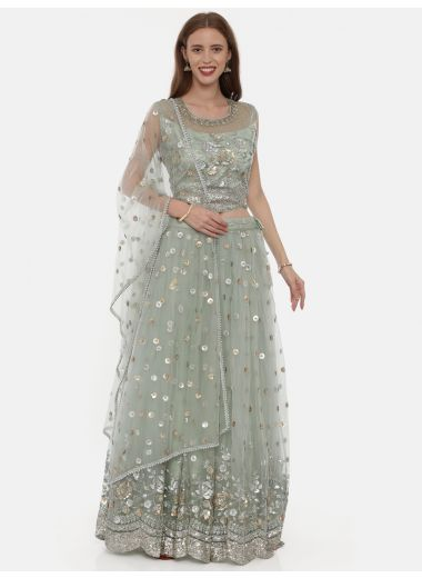 Neeru'S Pista Green Color,Nett Fabric Ghagra Set