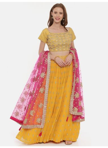 Neeru'S Yellow Color,Georgette Fabric Ghagra Set