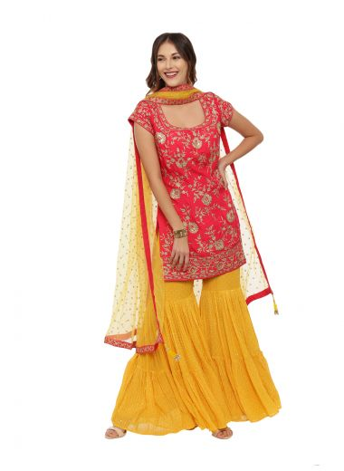 Neeru'S Rama Yellow Color, Georgette Fabric Half Sleeves Suit-Gharara