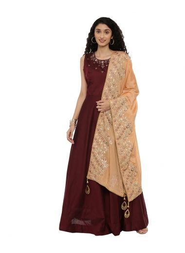Neeru'S Maroon Color,Chanderi Fabric Suit-Anarkali