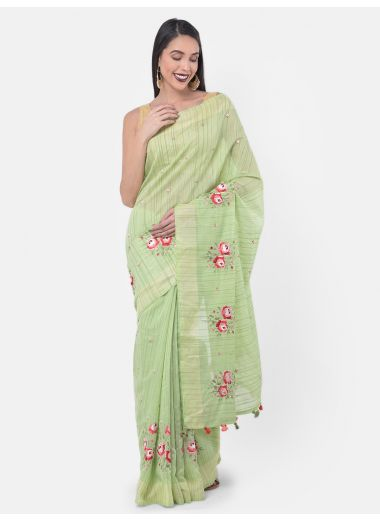 Neeru'S Pista Color, Dupion Fabric Saree