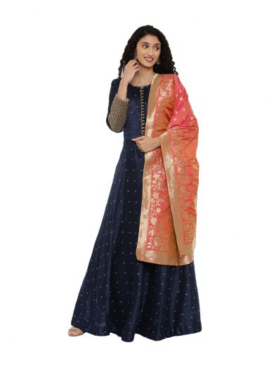 Neeru'S Navy Blue Color,Chanderi Fabric Suit-Anarkali
