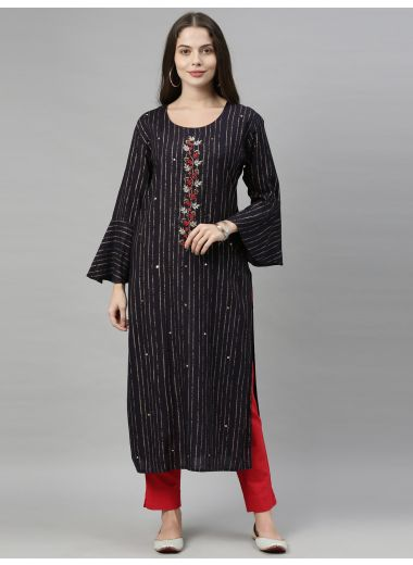 Neeru'S Navy Blue Color, Rayon Fabric Tunic