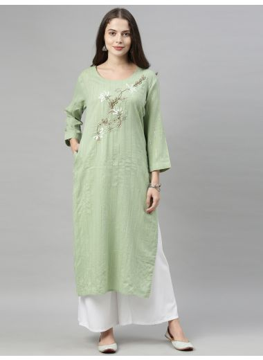 Neeru'S Pista Color, Cotton Fabric Tunic