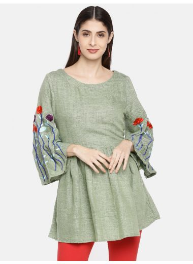 Neerus Women Sea Green Solid Tunic With Embroidered Details